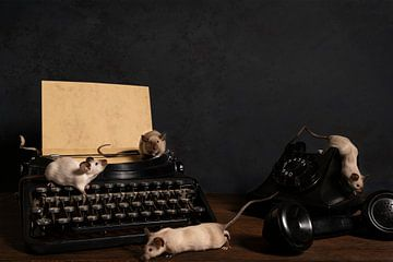 Stilleven van zes siamese muizen op een typmachine en telefoon van Leoniek van der Vliet