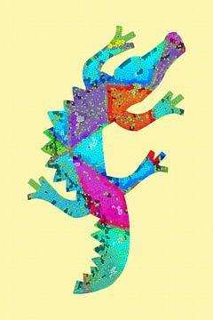 Mosaik Krokodil van Marion Tenbergen