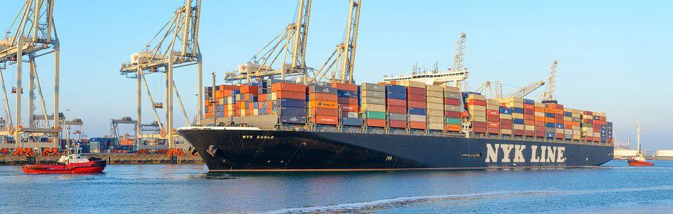 Containerschepen in de haven van Rotterdam