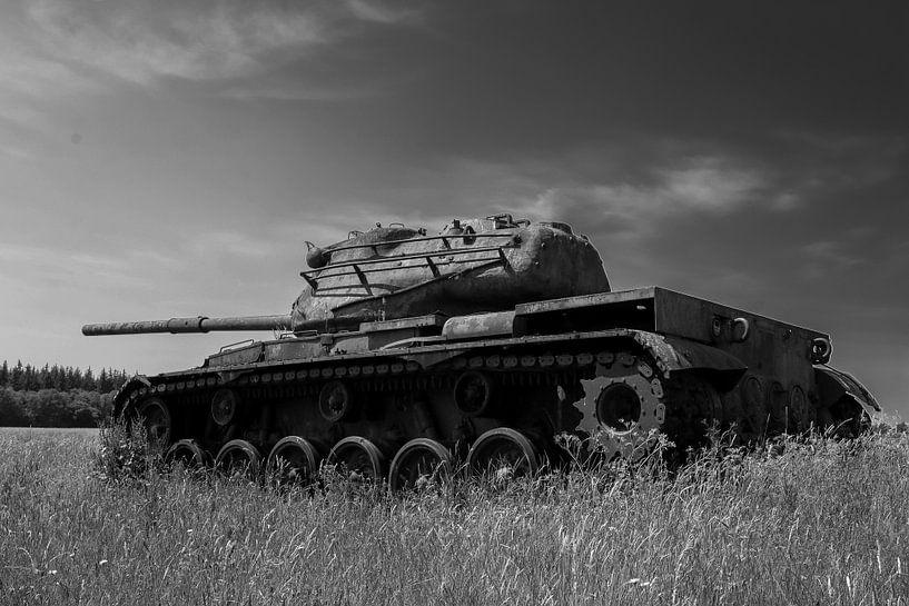 M47 Patton leger tank zwart wit 8 van Martin Albers Photography