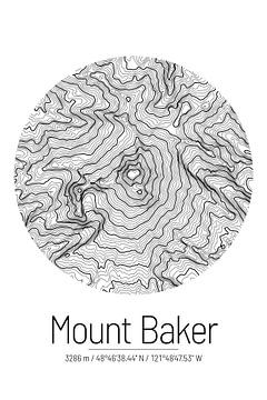 Le Mont Baker | Topographie de la carte (Minimal) sur City Maps