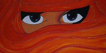 verschleierte Frau in Rot/orange/gelb van Babetts Bildergalerie