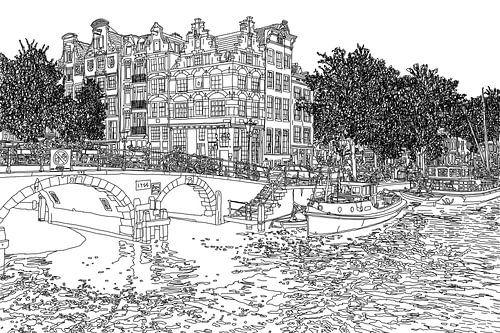 Pentekening Brouwersgracht Prinsengracht Jordaan Amsterdam Nederland Goud Tekening Lijntekening