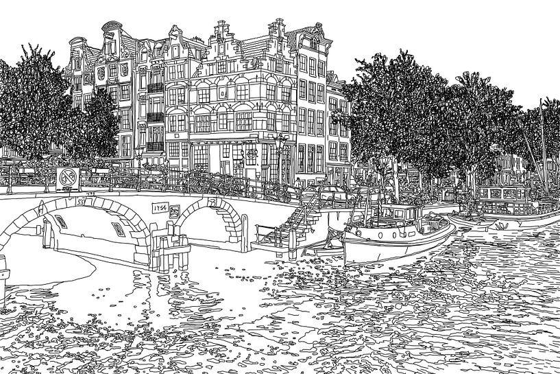 Pentekening Brouwersgracht Prinsengracht Jordaan Amsterdam Nederland Goud Tekening Lijntekening van Hendrik-Jan Kornelis
