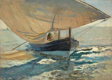 Fischerboote am Strand, Valencia, Joaquín Sorolla