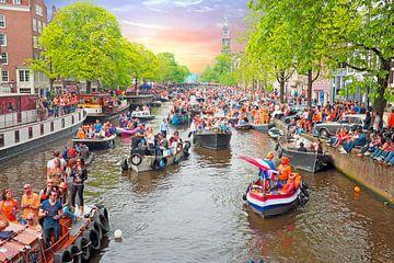 Koningsdag in Amsterdam bij zonsondergang van Nisangha Masselink