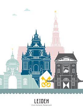 Skyline illustratie stad Leiden in kleur van Mevrouw Emmer
