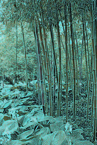Bamboe met hosta's van Diana Mets