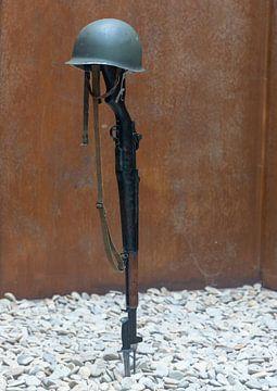 D-day in Normandië, monument bij Omaha Beach, Frankrijk van Maarten Hoek