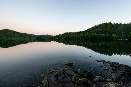 Reflectie van bomen in een meer in Noorwegen
