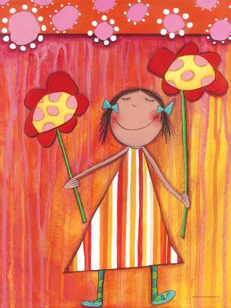Bloemen Meisje - Schilderij voor Kinderen van Atelier BuntePunkt