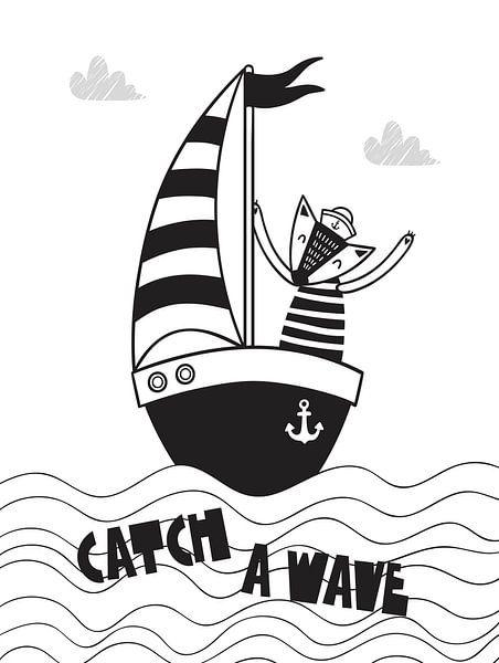 Kinderkamer Zwart Wit - Sea Adventure Catch A Wave van STUDIO 68
