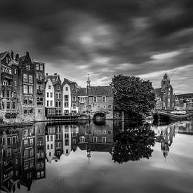 Zwart Wit Oude haven van Delfshaven van Rene Siebring