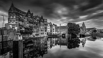 Zwart Wit Oude haven van Delfshaven