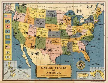 Verenigde Staten van Amerika, oude kaart van World Maps
