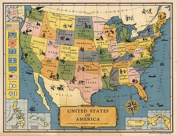Verenigde Staten van Amerika, oude kaart