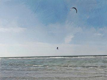 Kitesurfer macht hohen Sprung bei Ouddorp - Gemälde