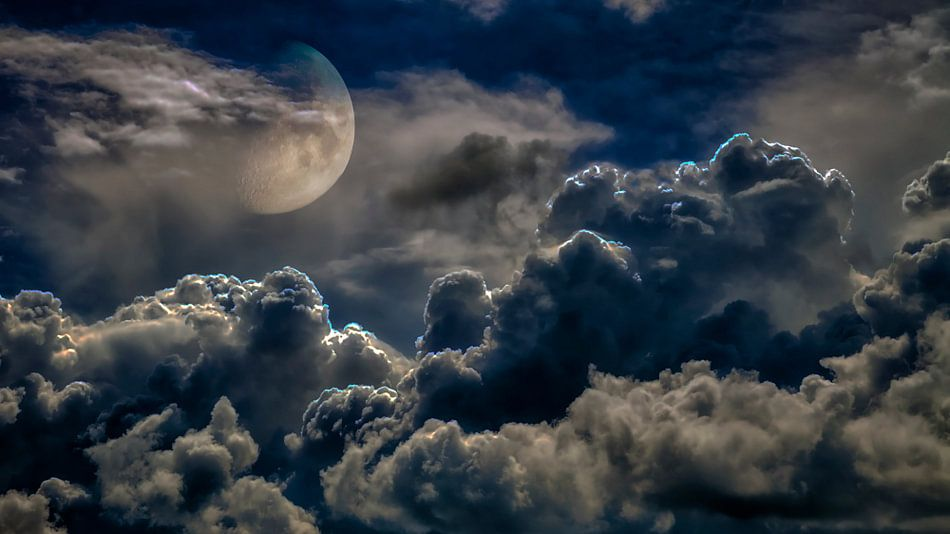 Onweer en maan van Jan vd Knaap