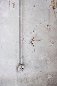 Elektrizitäts-Steckdose in einem verlassenen Schulgebäude