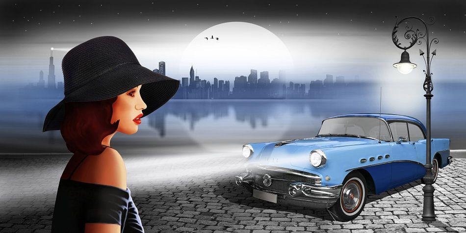 De schoonheid 's nachts met vintage auto