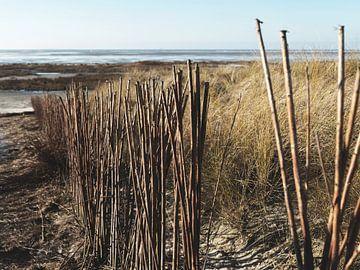 Scheiding duinpad op het strand van Schiermonnikoog van Bert Broer
