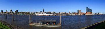 Hamburg Skyline mit Fähranleger von Frank Herrmann