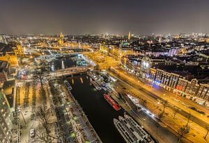 Night has fallen over Amsterdam.
