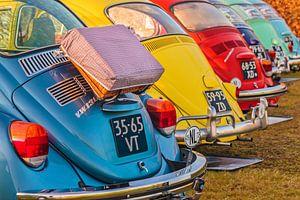 Rij kleurrijke Volkswagen Kevers van Martin Bergsma