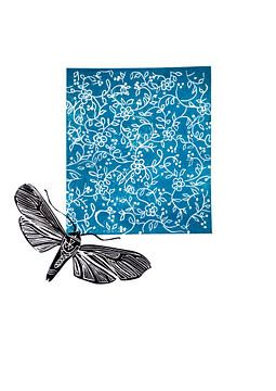 lino print, bloemen met mot blauw van