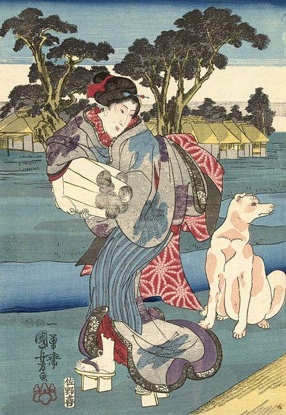Der Toi Tama Fluss in der Settsu Provinz, Utagawa Kuniyoshi von 1000 Schilderijen