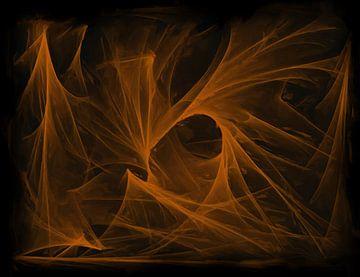Abstraktes Orange auf Schwarz von Maurice Dawson