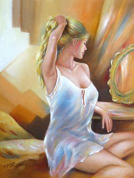 Sexy Frau am Spiegel - erotische Kunst von Marita Zacharias
