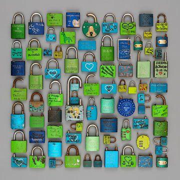 Liefdesslotjes in groen en blauw van Floris Kok