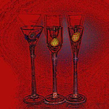 Glas in rood van Tilja Jansma