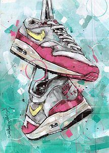 Nike air max one schilderij (rose & geel) van Jos Hoppenbrouwers