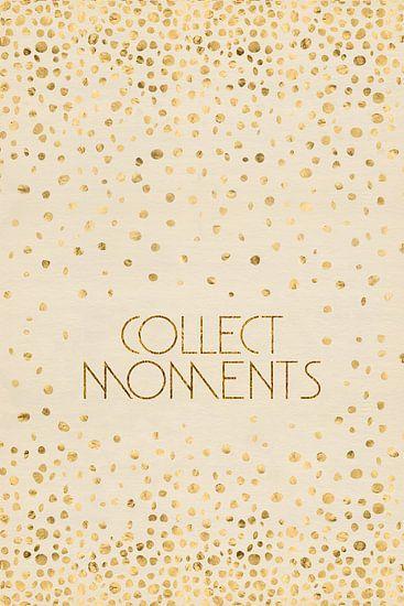 Tekst kunst VERZAMELEN MOMENTEN | glanzend Goud van Melanie Viola