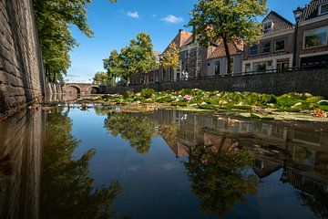 Sfeervolle stadsgracht in oude binnenstad van Hanzestad Kampen van Fotografiecor .nl