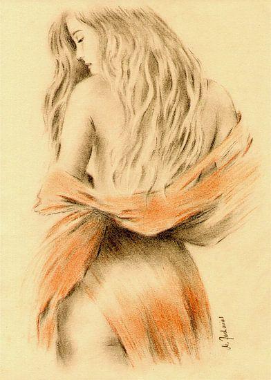 Sexy Meisje met rode doek - erotische tekeningen van Marita Zacharias