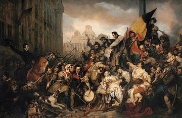 Episode der Septembertage 1830, auf dem Grand Place von Brüssel, Gustave Wappers
