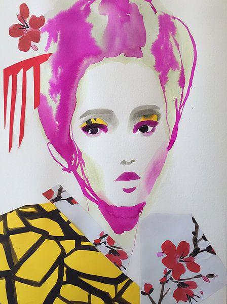 Geisha mit Kirschblüte von Helia Tayebi Art