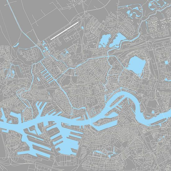 Rotterdam | Stadskaart | Vierkant Grijs en Blauw