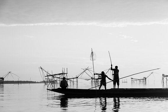 Silhouette van vissers