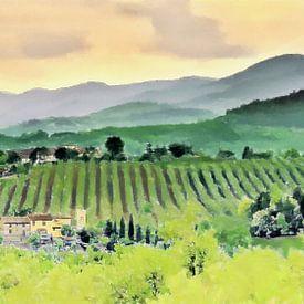 Wonen tussen de Wijnranken in de Wijngaarden van Toscane in Italië - Schilderij van Schildersatelier van der Ven