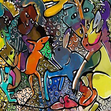 Dansende muis en schuifelend konijn van Henk van Os