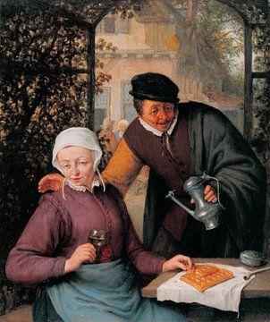 An elderly Couple in an Arbour, by Adriaen van Ostade
