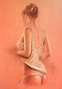 Meisje in lingerie - erotische schilderij Photorealism