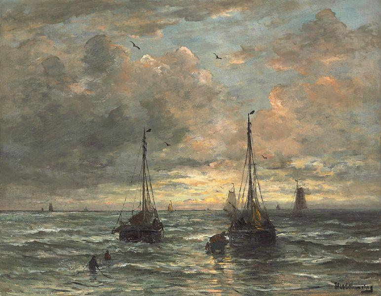 Terugkeer van de vissersvloot.,Hendrik William Mesdag van Bridgeman Masters