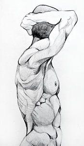 Tekening van een mannen figuur in zwart wit. van Therese Brals