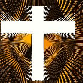 Wit kruis omringt met gouden stralen van Leo Huijzer