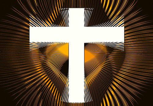 Wit kruis omringt met gouden stralen van